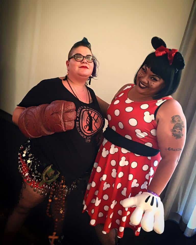(l.-r.) Tina Cervantes as Hellboy and founder Marisa Garcia as Minnie Mouse
