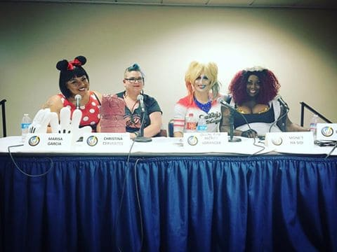 Body Image & Diversity in Comics, Cosplay and PopCulture panel @ Wizard World Sacramento on June 18th, 2016 (l.-r.) Host Marisa Garcia, Tina Cervantes, Charity Kase and Mone't Ha-Sidi