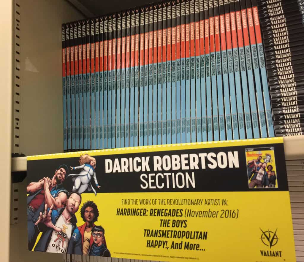 "A ""Darick Robertson Section"" sign, custom-made to highlight the superstar artist of HARBINGER RENEGADE as well as his other best-selling titles"
