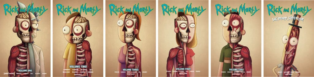 Rick and Morty Vols. 1-5 variants & Lil' Poopy Superstar